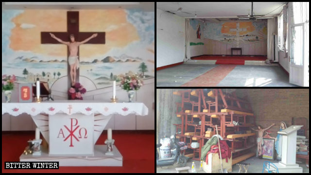 A Catholic church in Shenzhou was emptied before being closed down.