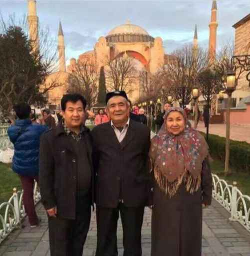 """Milikizat's elder brother, father, and mother visiting Turkey, the """"crime"""" for which they now languish in jail."""