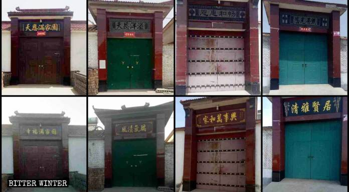 Religion-related plaques on villagers' door lintels have been replaced with secular ones.