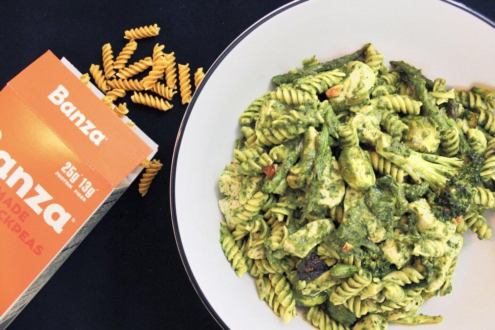 Green veggie pesto pasta
