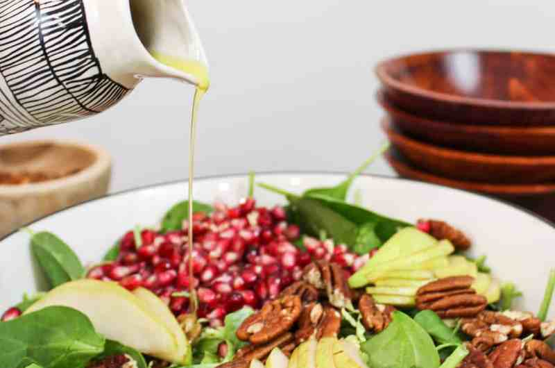 Winter Salad with Pomegranate Seeds, Brussels Sprouts, Pear, & Pecans