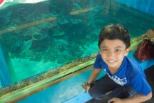 Little Man poses with the fishes