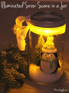Illuminated Snow Scene in a Jar