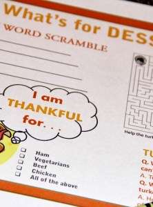 Printable Thanksgiving Placemat for the Kiddos