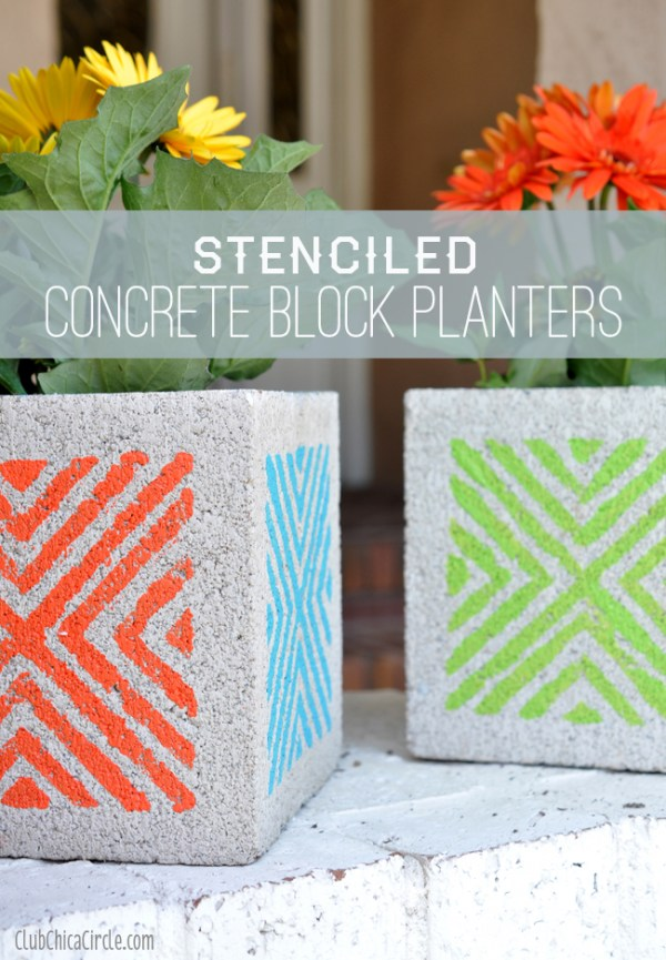 Stenciled-Concrete-Block-Planters-Craft-idea