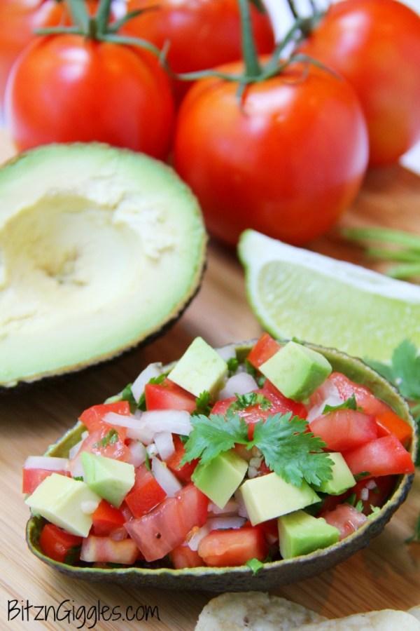 Salsa filled avocado