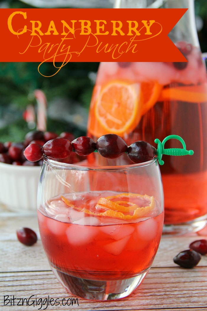 Cranberry Party Punch - A non-alcoholic party punch perfect for special occasions and holidays. So easy and so refreshing!