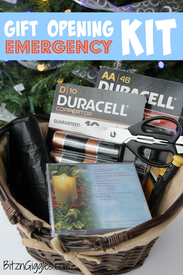 Gift Opening Emergency Kit - Gather these items before opening up your gifts! You're sure to need them!