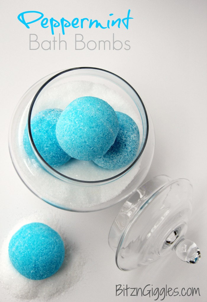 """Peppermint Bath Bombs - These """"blue snowballs"""" soothe, invigorate your senses with cool peppermint and transform your bath water color to an ocean blue."""