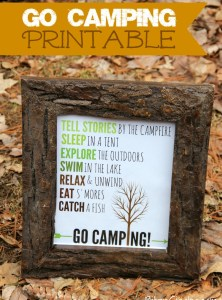 Go Camping Free Printable