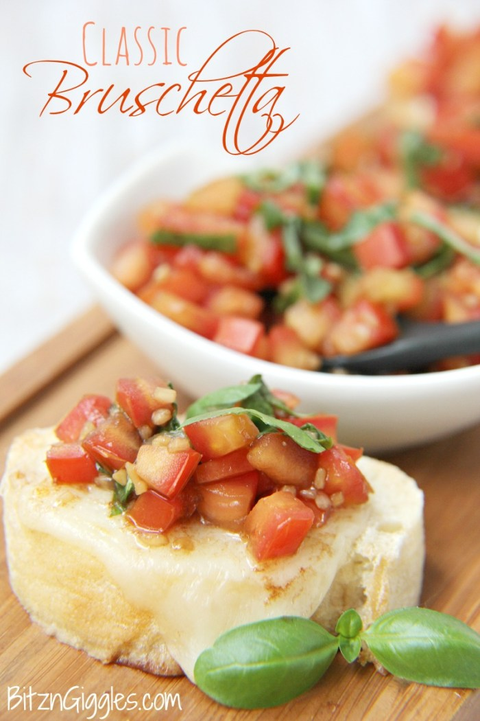 Classic Bruschetta - French bread slices topped with melted mozzarella and fresh tomatoes bursting with flavors of balsamic, garlic and basil!