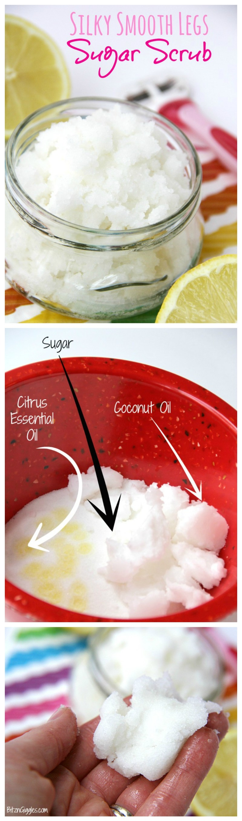 Silky Smooth Legs Sugar Scrub - Apply a small amount of this scrub before shaving for silky, smooth legs year round!