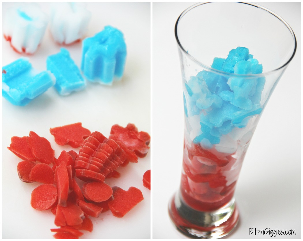 Frozen Bomb Pop Cooler - A two-ingredient, delicious and refreshing drink that pays tribute to the nostalgic Bomb Pop popsicle we've all grown to love!