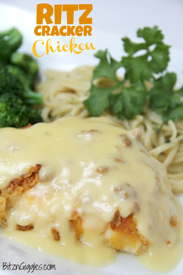 Ritz Cracker Chicken - Cheesy chicken covered with crispy, baked Ritz Crackers and topped with a creamy, flavorful sauce!