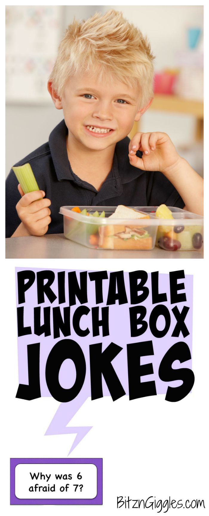 Printable Lunch Box Jokes - 10 printable joke cards perfect for putting a smile on your child's face at school! Let them know you're thinking of them!