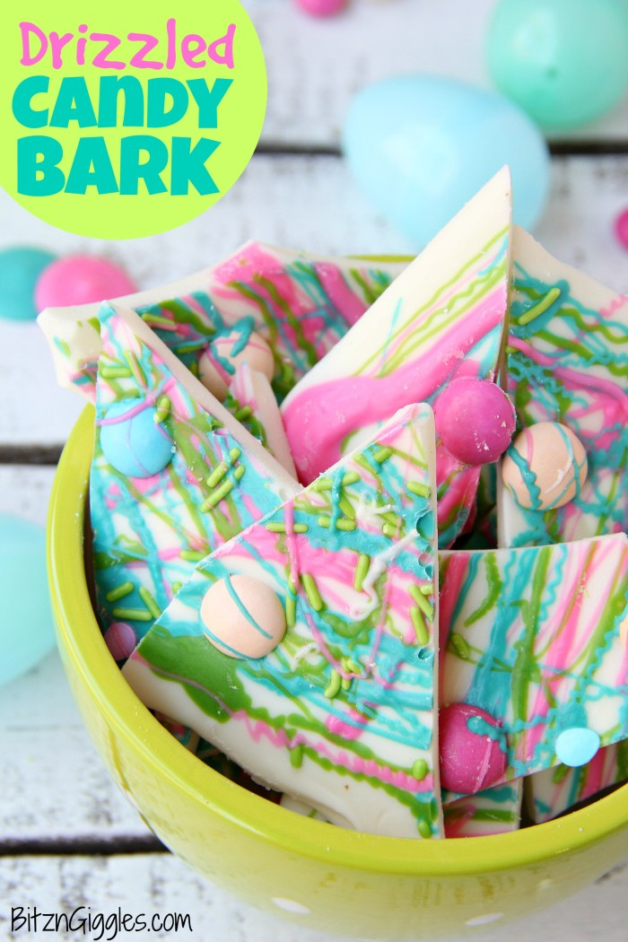 Drizzled Candy Bark - A fun twist on traditional candy bark with M&Ms, sprinkles and colored candy coating drizzle! Perfect for spring and Easter!