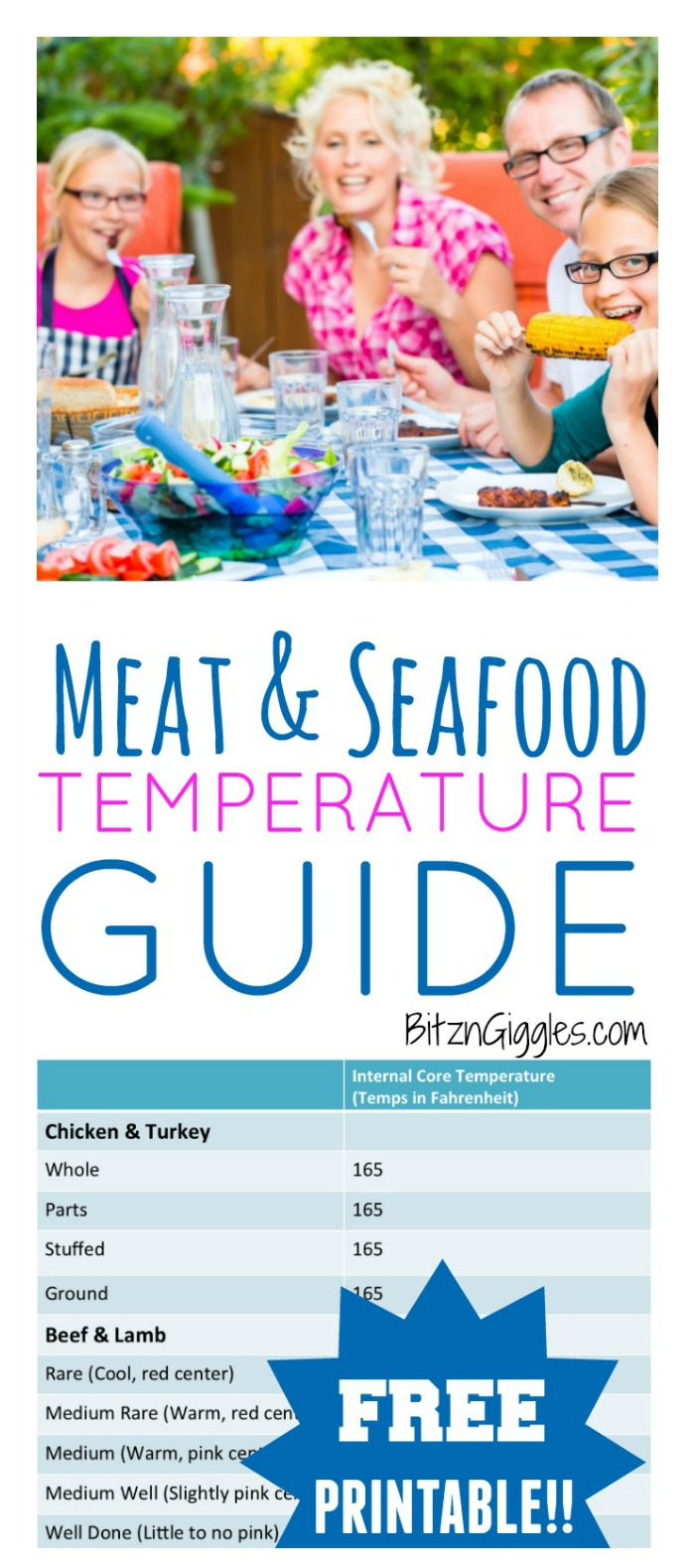 Meat and Seafood Temperature Guide - What a lifesaver this FREE printable is when cooking in the kitchen or grilling out on the patio! This is such a great chart to have on hand to reference!
