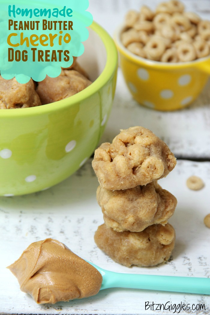 Homemade Peanut Butter Cheerio Dog Treats - 5-ingredient dog treats made with ingredients you probably already have in your pantry! These treats are absolutely irresistible to dogs!