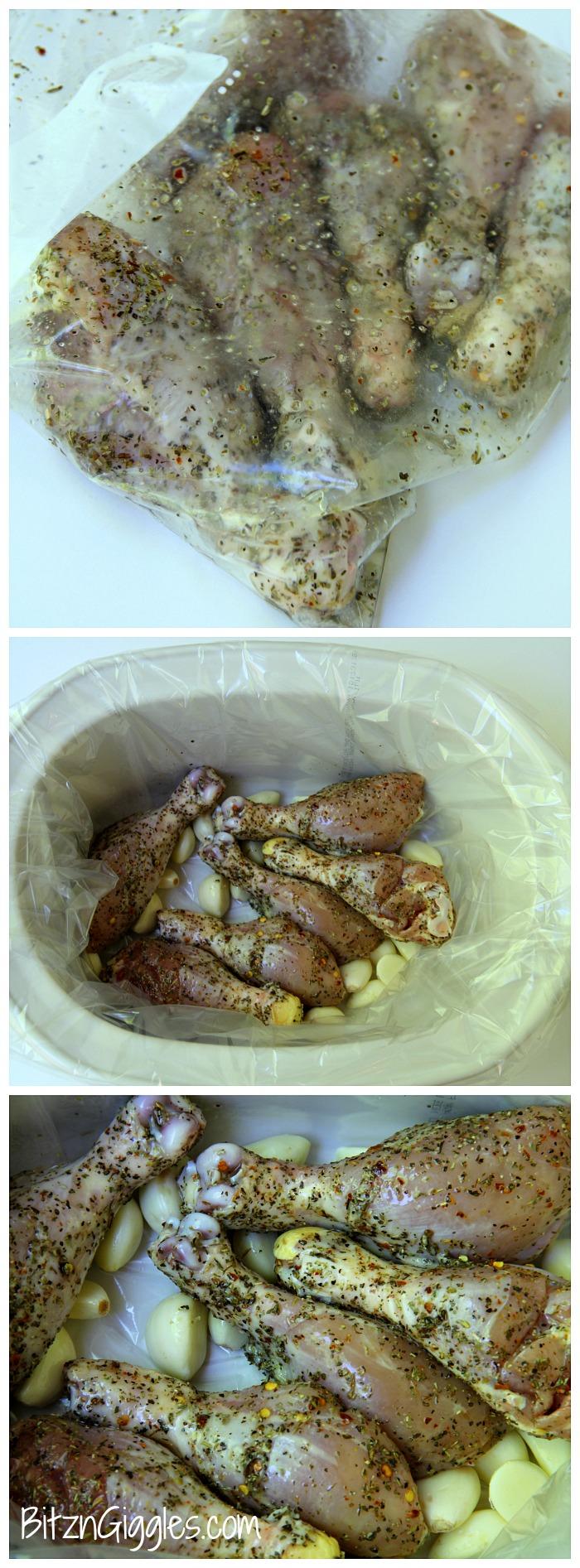 Crock Pot Italian Garlic Chicken - Super moist, tender, fall-off-the-bone chicken the whole family will enjoy!