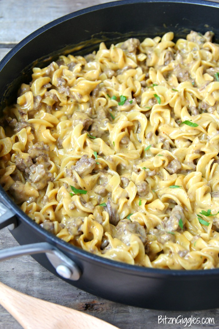Easy Beef Stroganoff - A cheesy and delicious one pan meal that comes together in well under 30 minutes!