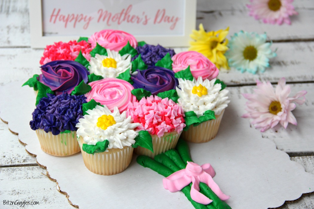 Mother's Day Cupcake Cake + Free Printable - Bitz & Giggles