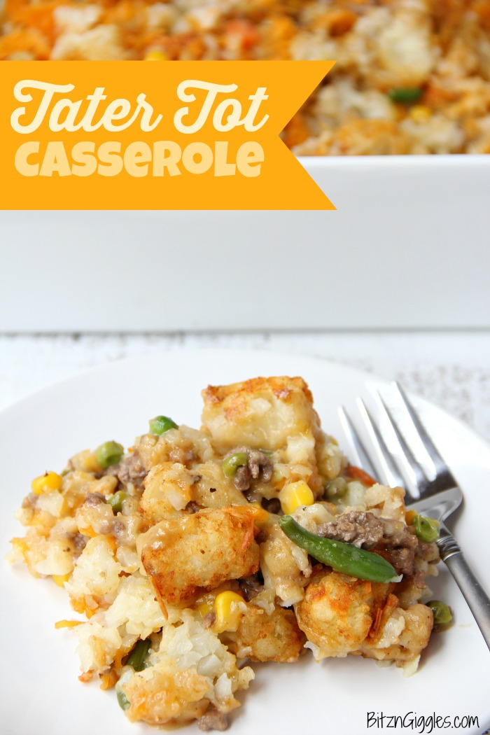 Tater Tot Casserole - A classic casserole that's both delicious and family-friendly! Comes together quickly with a few staple ingredients!
