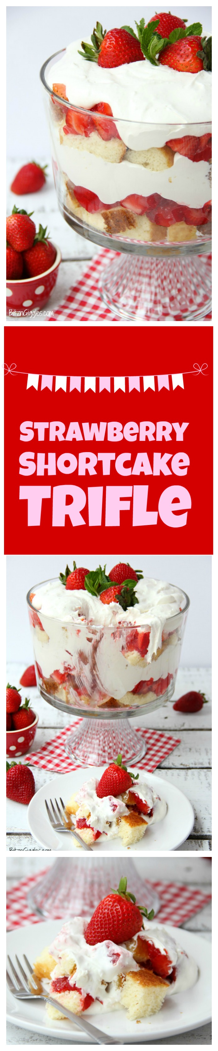 Strawberry Shortcake Trifle - A beautiful and delicious trifle layered with vanilla cake, homemade strawberry glaze and cream! Such a pretty dessert!
