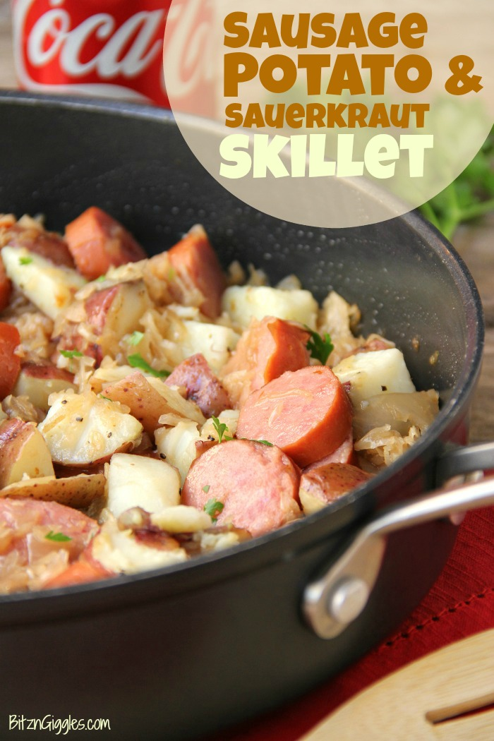 Sausage Potato & Sauerkraut Skillet - Kielbasa, potatoes and Coca Cola infused sauerkraut creates a winning combination for a traditional and comforting skillet meal.