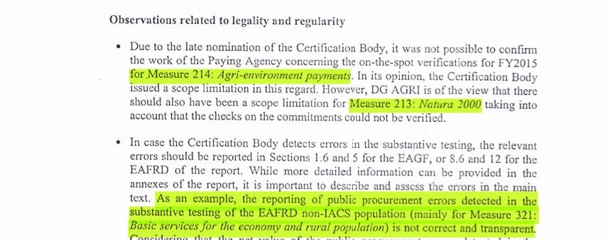 Плащания по две от мерките в момента са прекъснати поради съмнения относно тяхното приложение. - каза говорител на Брюксел. В писмото са посочени мерките 212 и 213, но има забележки и за селските стадиони по мярка 321.