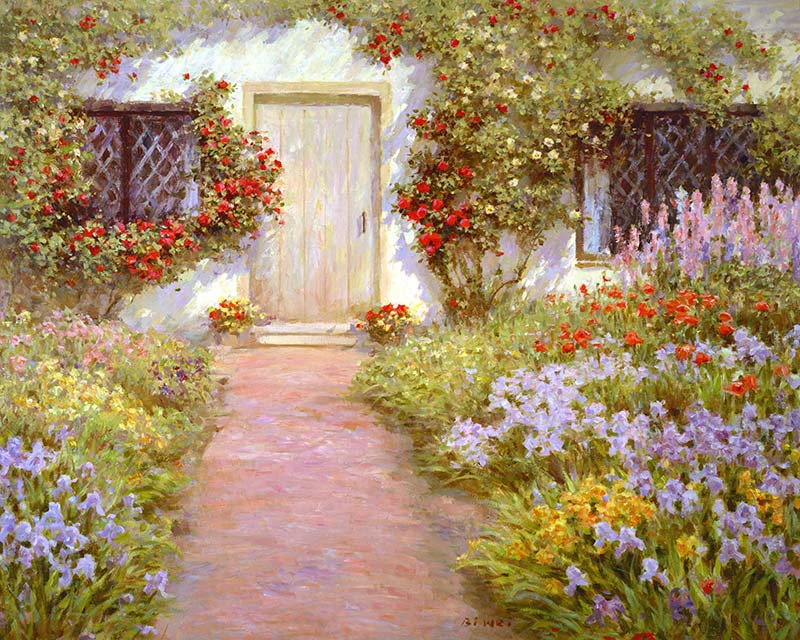 Romantic Cottage Gardens Paintings