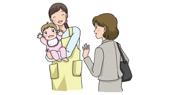 赤ちゃんを抱く保育士と子供を迎えに来たママ