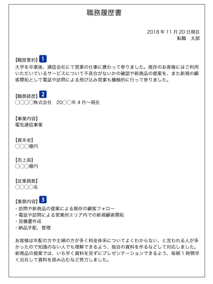 職務経歴書(職歴要約・職務経歴・業務内容)