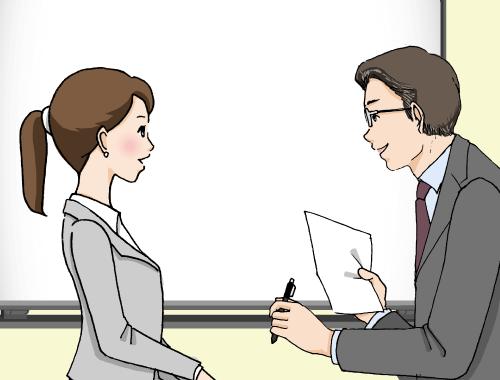 男性と女性が会話をしている様子