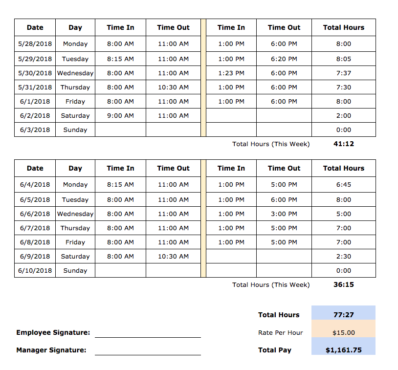 Free Timesheet Templates In Excel Pdf Word Formats Weekly