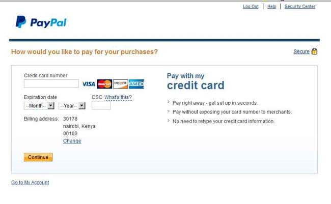 Enter debit card information