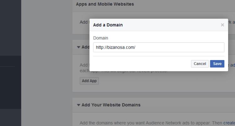 Add website Domain in Facebook App