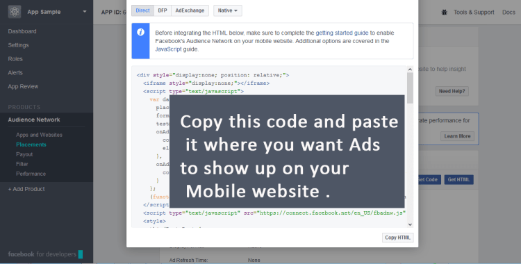 Copy the Facebook Ad Code placement for my website