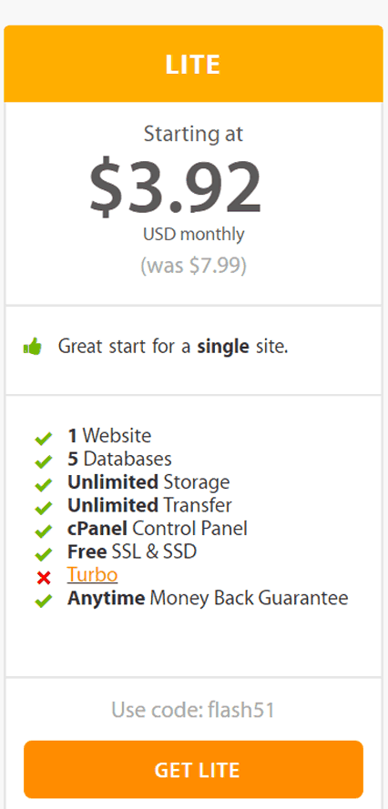 A2 Hosting Lite Plan - Learn More