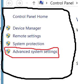 6 Advanced system settings Windows control panel