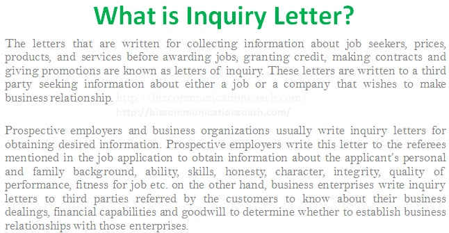 What is Inquiry Letter