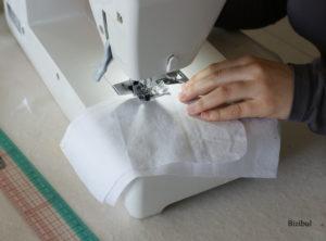 le montage d'une poche réalisé lors d'un cours de couture à domicile entre Nantes et Pornic