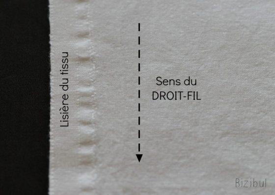 trouver le sens du tissu est important pour déterminer le droit-fil qui est parrallèle à la lisière du tissu