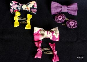 Lot 8 à 10 du concours Bizibul spécial 1 an : 1 broche noeud + 1 paire de barrettes clip