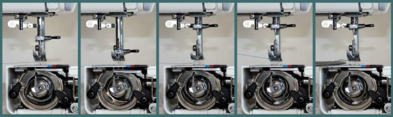 faire sortir son fil de canette par la plaque d'aiguille avant de démarrer la couture est important pour les machines mécaniques