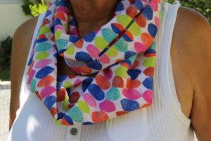 Le snood est un projet couture facile à l'atelier Bizibul (44). Un accessoire de mode tendance et fashion à réaliser en cours de couture même pour les nuls en couture. L'atelier Bizibul se trouve à Port-St-Père à côté de Nantes, Pornic et Chauvé.