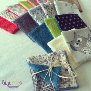 La couture zéro déchet avec des lingettes lavables en tissu réalisées en cours de couture à l'atelier Bizibul (44), proche Nantes, Saint-Herblain et Sainte-Pazanne.
