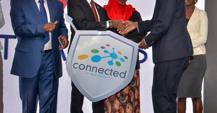 ICT CS Joe Mucheru with ATLANCIS CEO, Daniel Kinyua During the launch of Connected Kenya Summit 2018. Looking on are ICT PSs Jerome Ochieng and Fatuma Hirsi