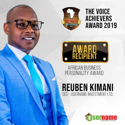 USERNAME INVESTMENTS WINS PRESTIGIOUS 2019 AFRICAN BUSINESS PERSONALITY AWARD