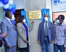 Kiambu County Governor James Nyoro, Family Bank CEO Rebecca Mbithi, Director T.K. Muya and Kabete MP Hon Wamacukuru James Githua during the official opening of the bank's 91st branch in Wangige