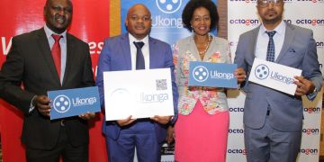 Octagon Africa Executive Director,Strategy & Product Godwin Simba, Save App CEO Abdulaziz Mohammed,KEPSA Chairperson Flora Mutahi & Naivas Corporate Sales Manager Patrick Pere during launch of Ukonga - Bizna Kenya